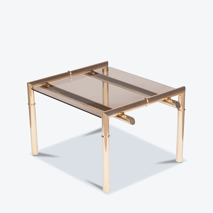 Coffee Table with Brass Bamboo Frame, 1960s, Netherlands