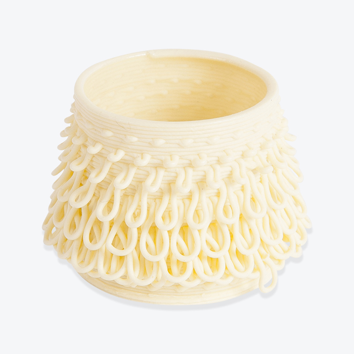 Loop Vase No. 1 Tutu in Yellow 3D Printed Porcelain by Alterfact