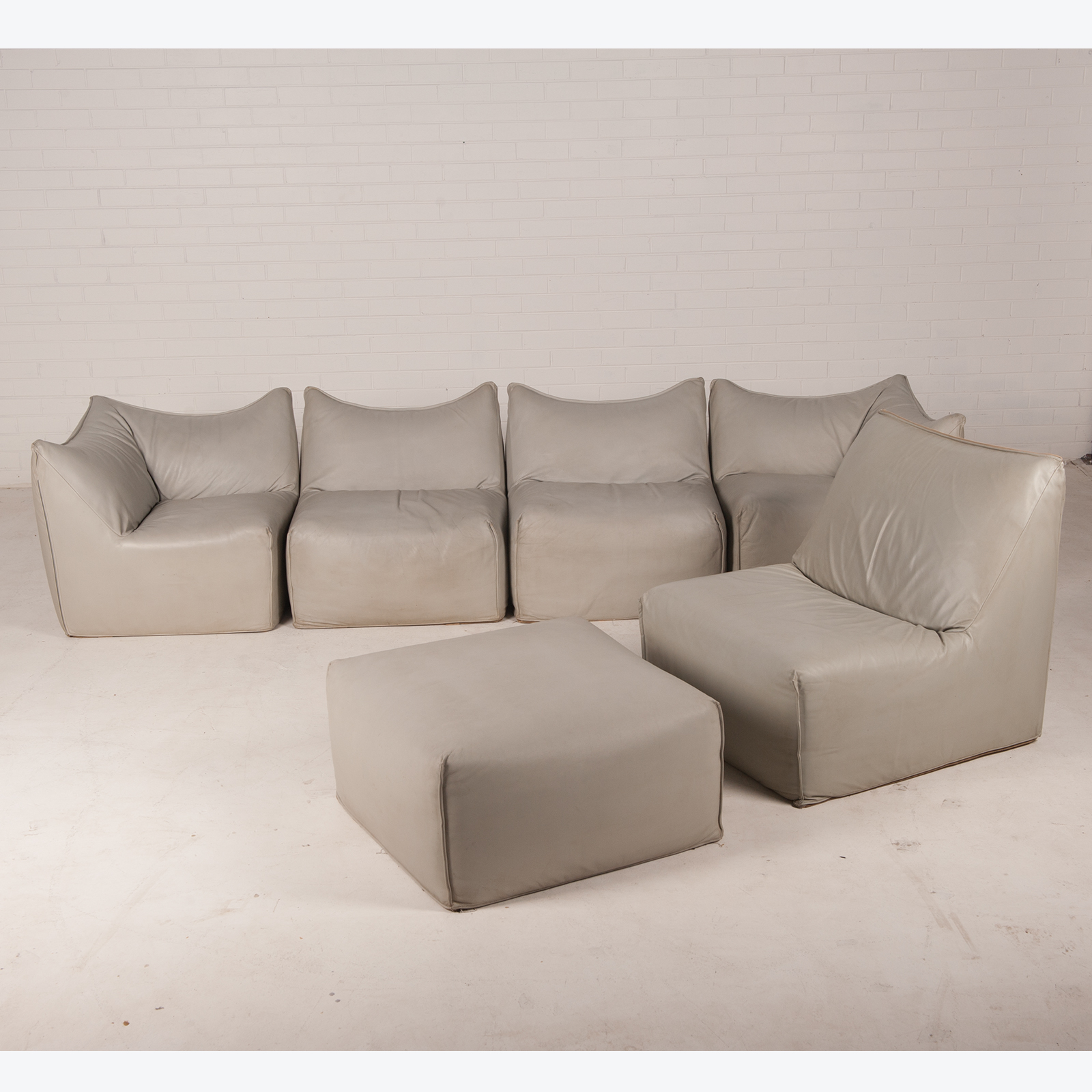 Bambole Suite by Mario Bellini for B&B Italia with Sofa, Chair, & Ottoman in Leather 1972, Italy