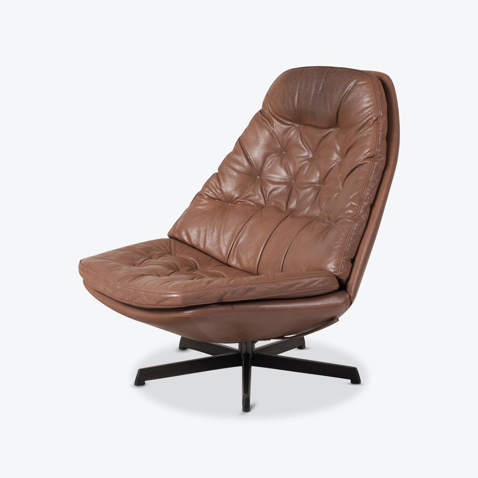 Ms68 Armchair By Madsen Schubell In Brown Leather 1960s Denmark