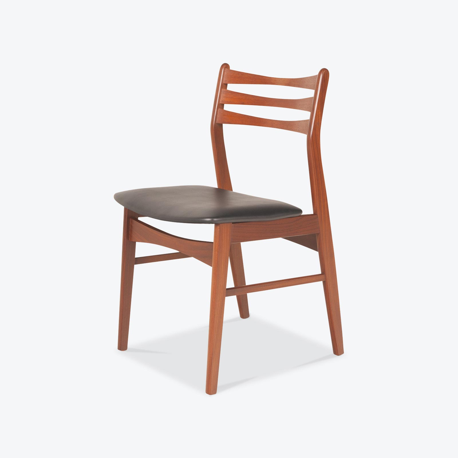 Set 6 Ladder Back Dining Chairs In Teak