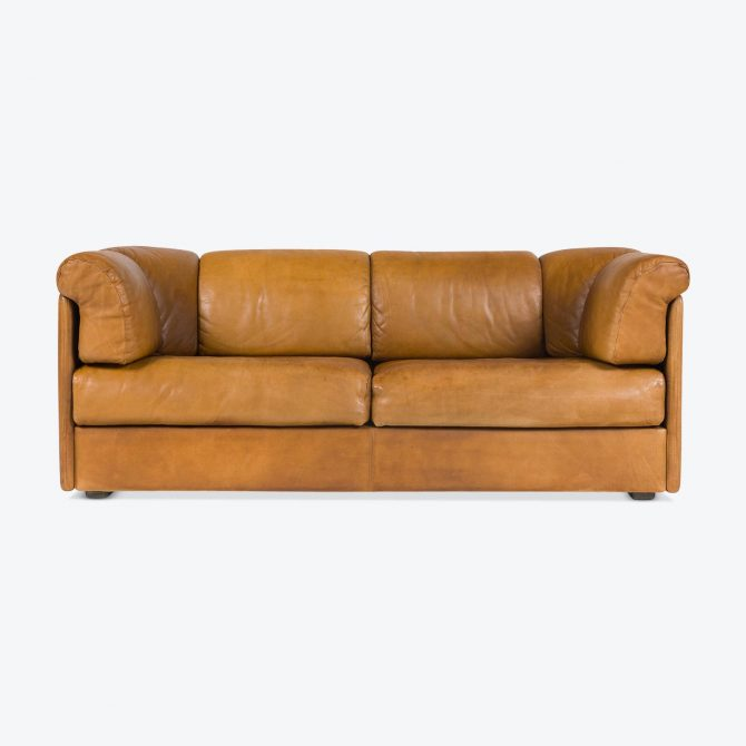 2 Seat Sofa With Loose Cushions In Buttery Leather 1960s Denmark 01.jpg