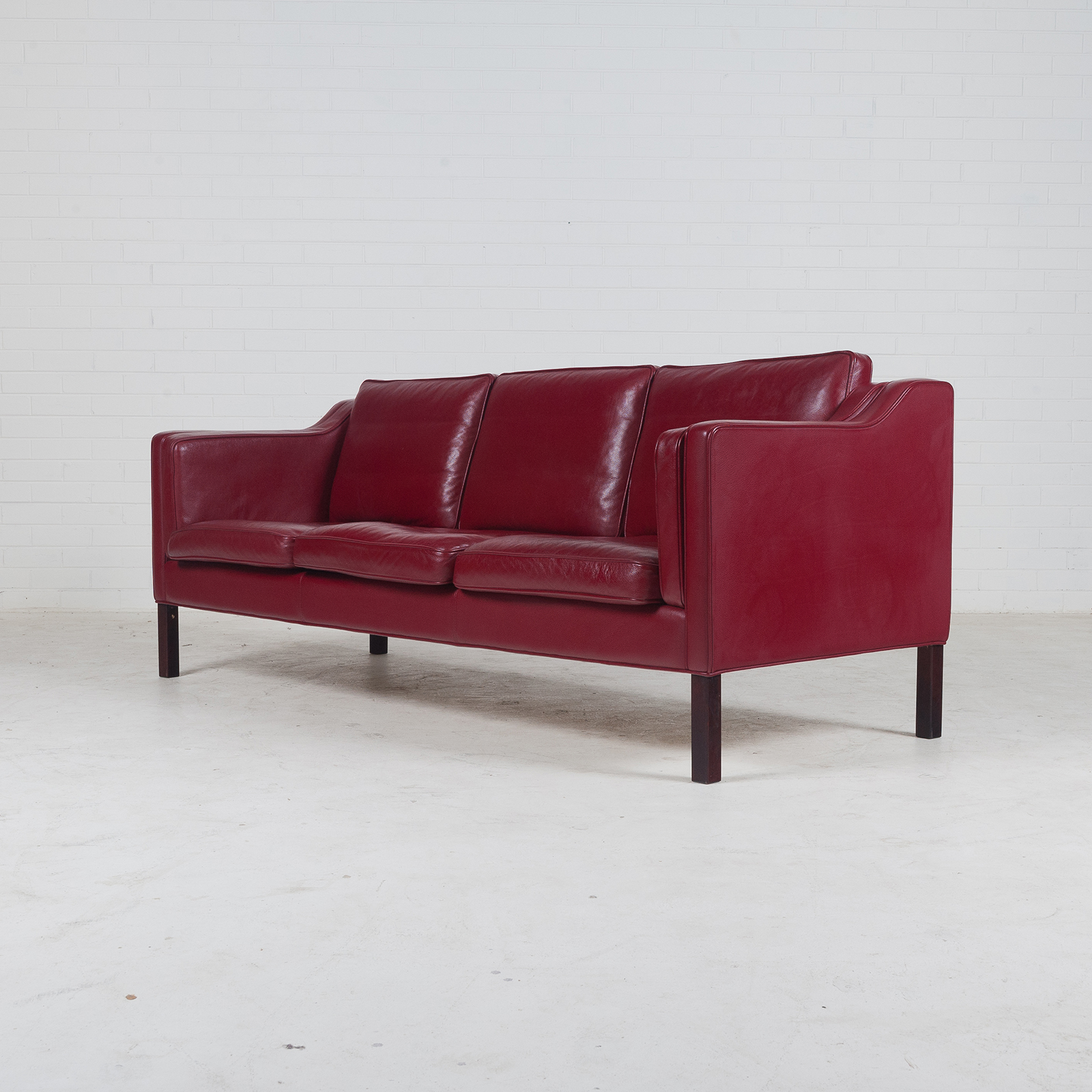 3 Seat Sofa In Cherry Red Leather And Stained Legs 1960s