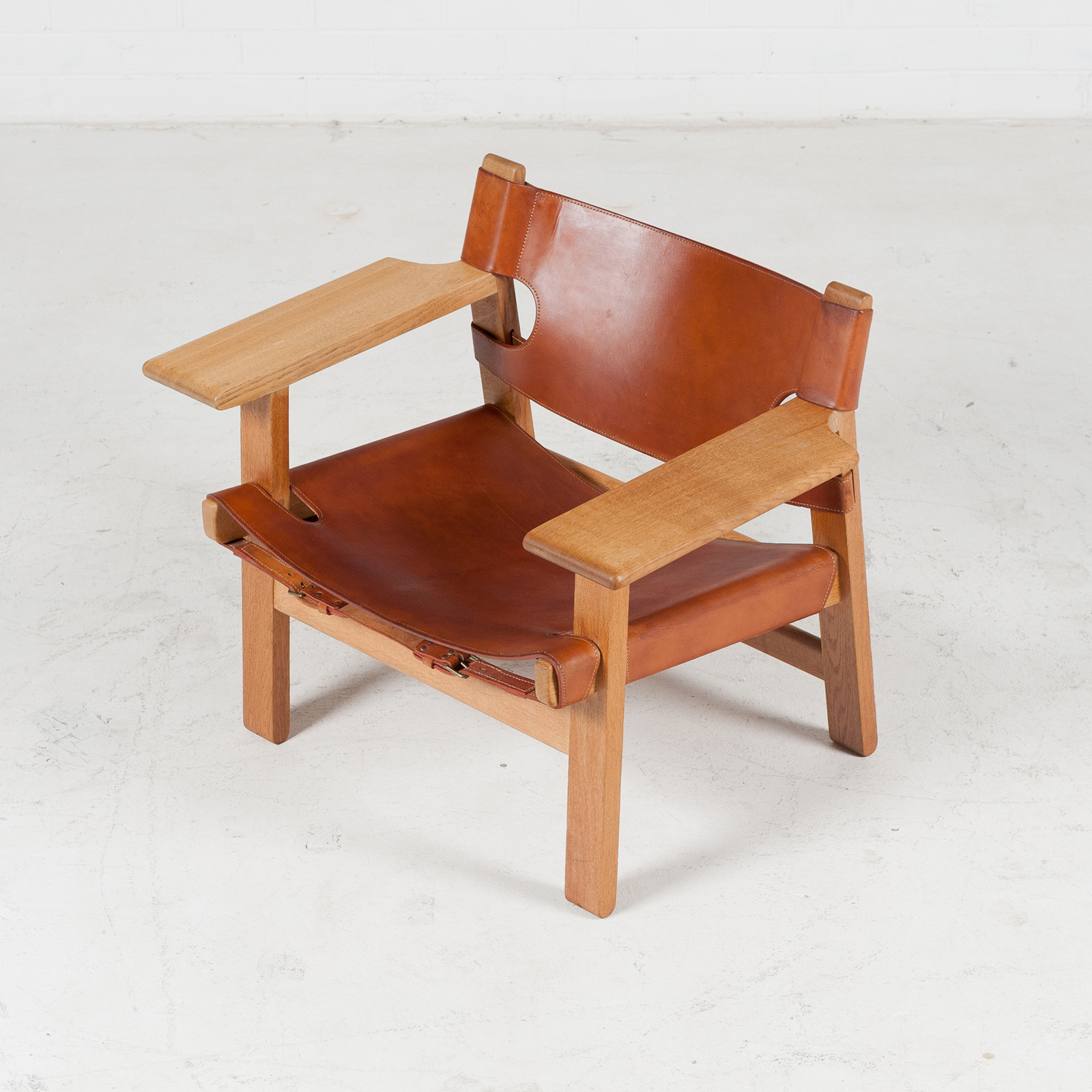 spanish chair by borge mogensen in tan leather for fredericia 1950s