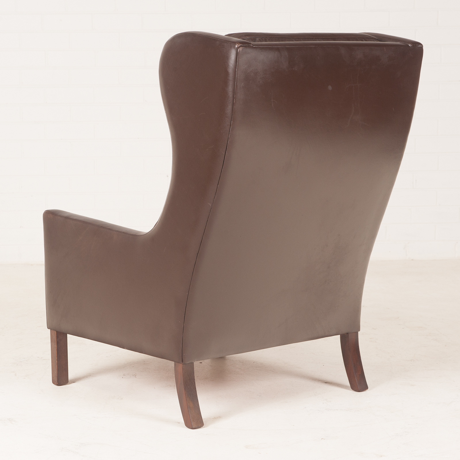 Wing Back Armchair In Dark Brown Leather 1960s Denmark