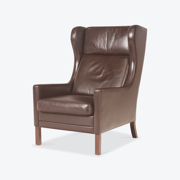 Wing Back Armchair In Dark Brown Leather 1960s Denmark Thumb.jpg