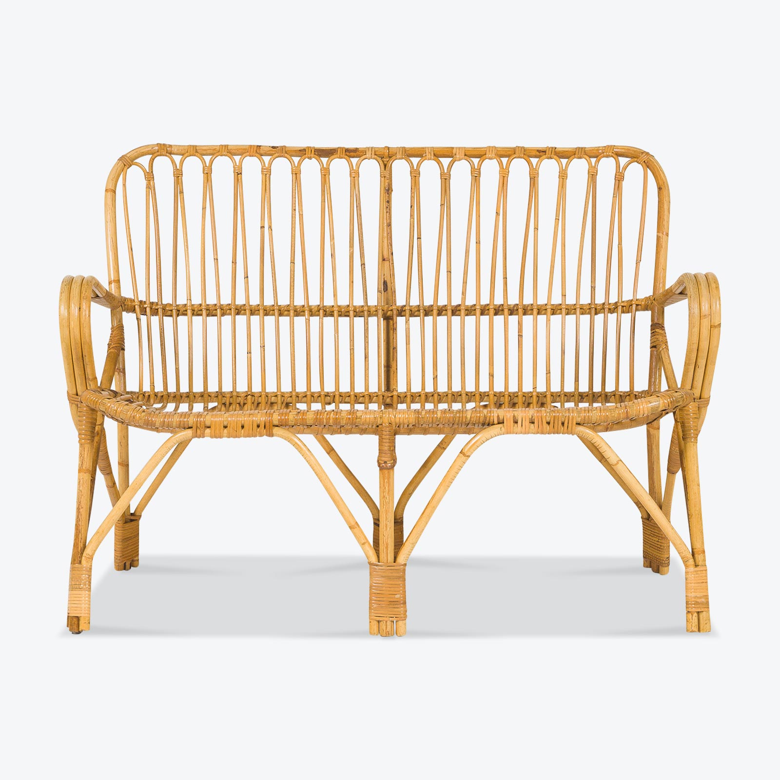 2 Seat Wicker Sofa In Bamboo With Coiled Socks 1960s Denmark 01