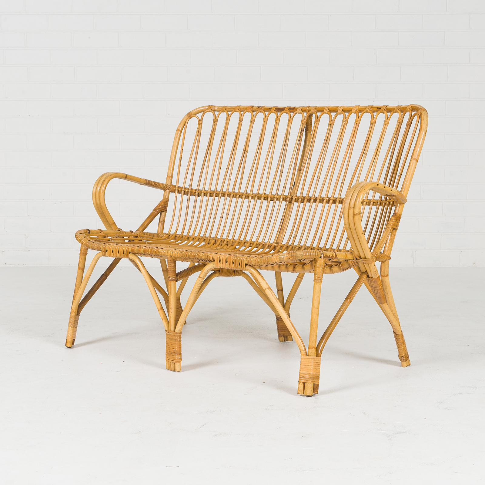 2 Seat Wicker Sofa In Bamboo With Coiled Socks 1960s Denmark 02