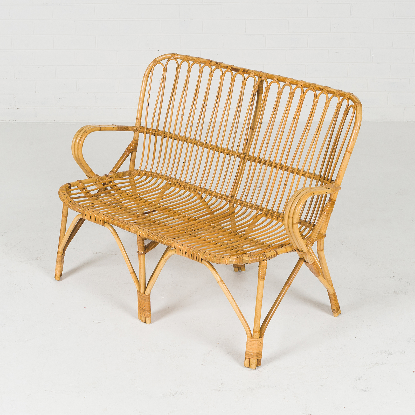 2 Seat Wicker Sofa In Bamboo With Coiled Socks 1960s Denmark 03