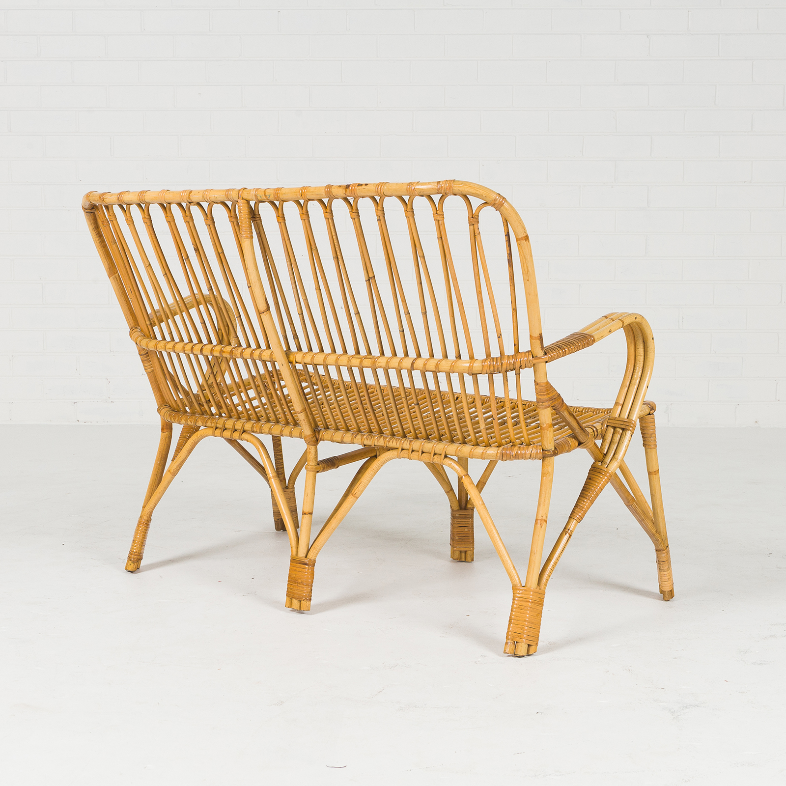 2 Seat Wicker Sofa In Bamboo With Coiled Socks 1960s Denmark 04