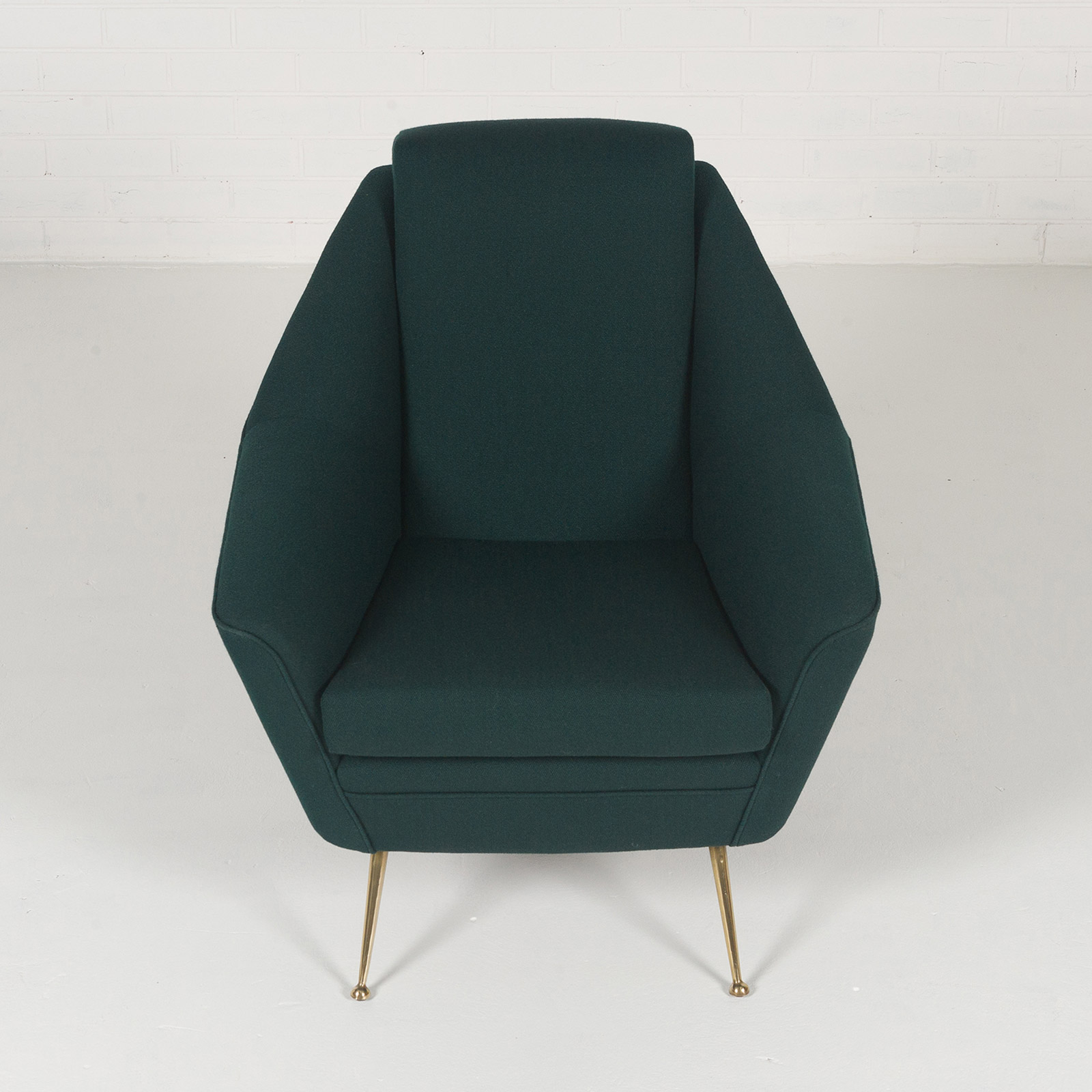 Armchair With Brass Legs And New Kvadart Upholstery 1950s Italy 03