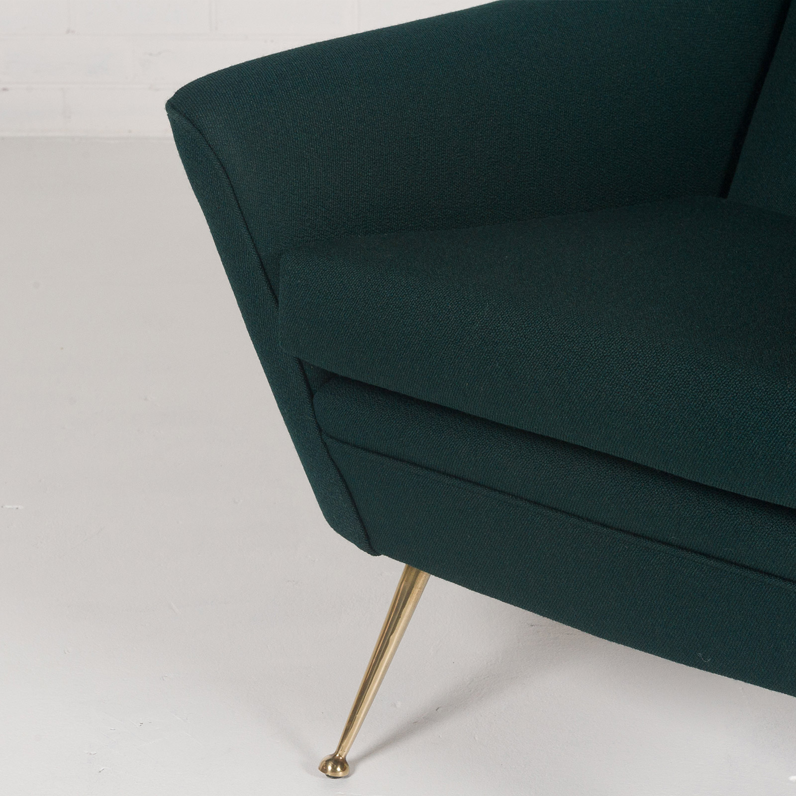 Armchair With Brass Legs And New Kvadart Upholstery 1950s Italy 06