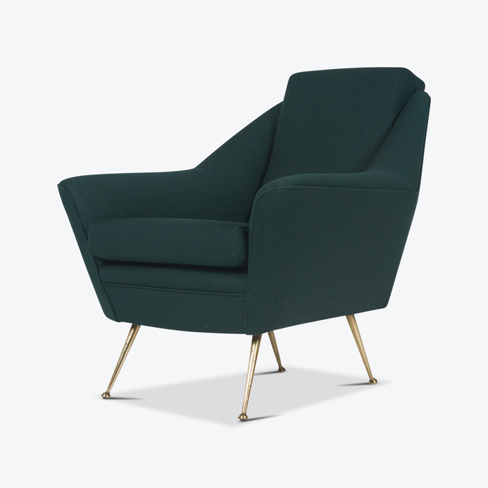 Armchair With Brass Legs And New Kvadart Upholstery 1950s Italy Thumb.jpg