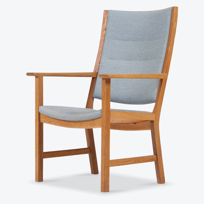 High Back Arm Chair By Hans Wegner In Oak And New Upholstery 1960s Denmark Thumb.jpg