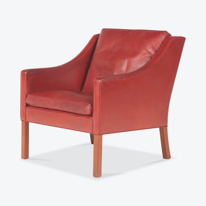 Model 2207 Armchair By Borge Mogensen For Fredericia In Cherry Red Leather 1960s Denmark Thumb.jpg