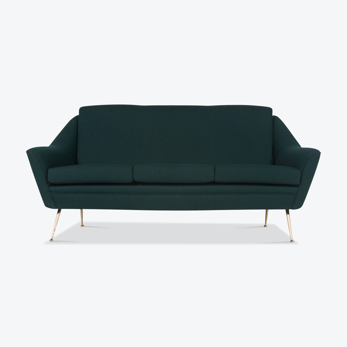 Sofa With Brass Legs And New Kvadart Upholstery 1950s Italy Thumb.jpg