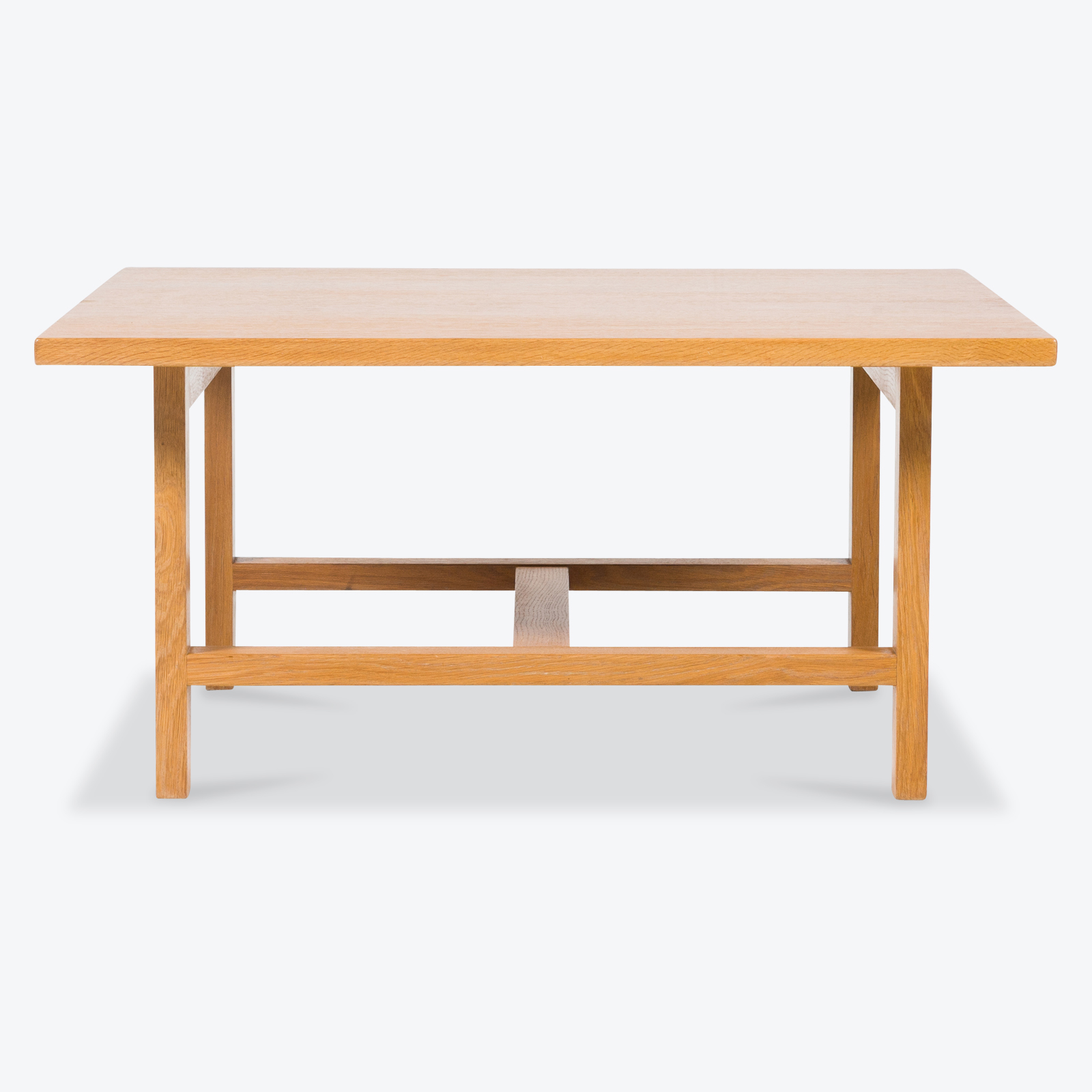Square Coffee Table With Stretcher By Hans Wegner In Oak