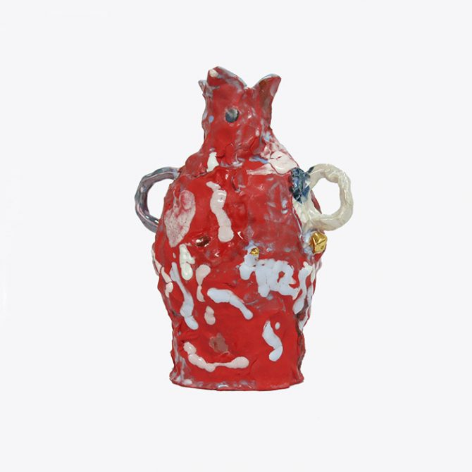 Red Bottle In Glazed Stoneware And Lustre By Tessy King Thumb.jpg