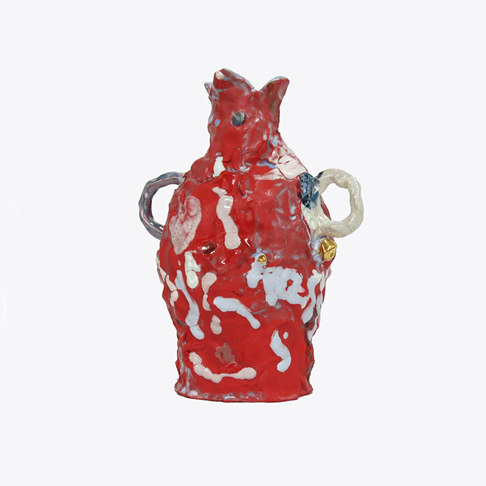 Red Bottle In Glazed Stoneware And Lustre By Tessy King