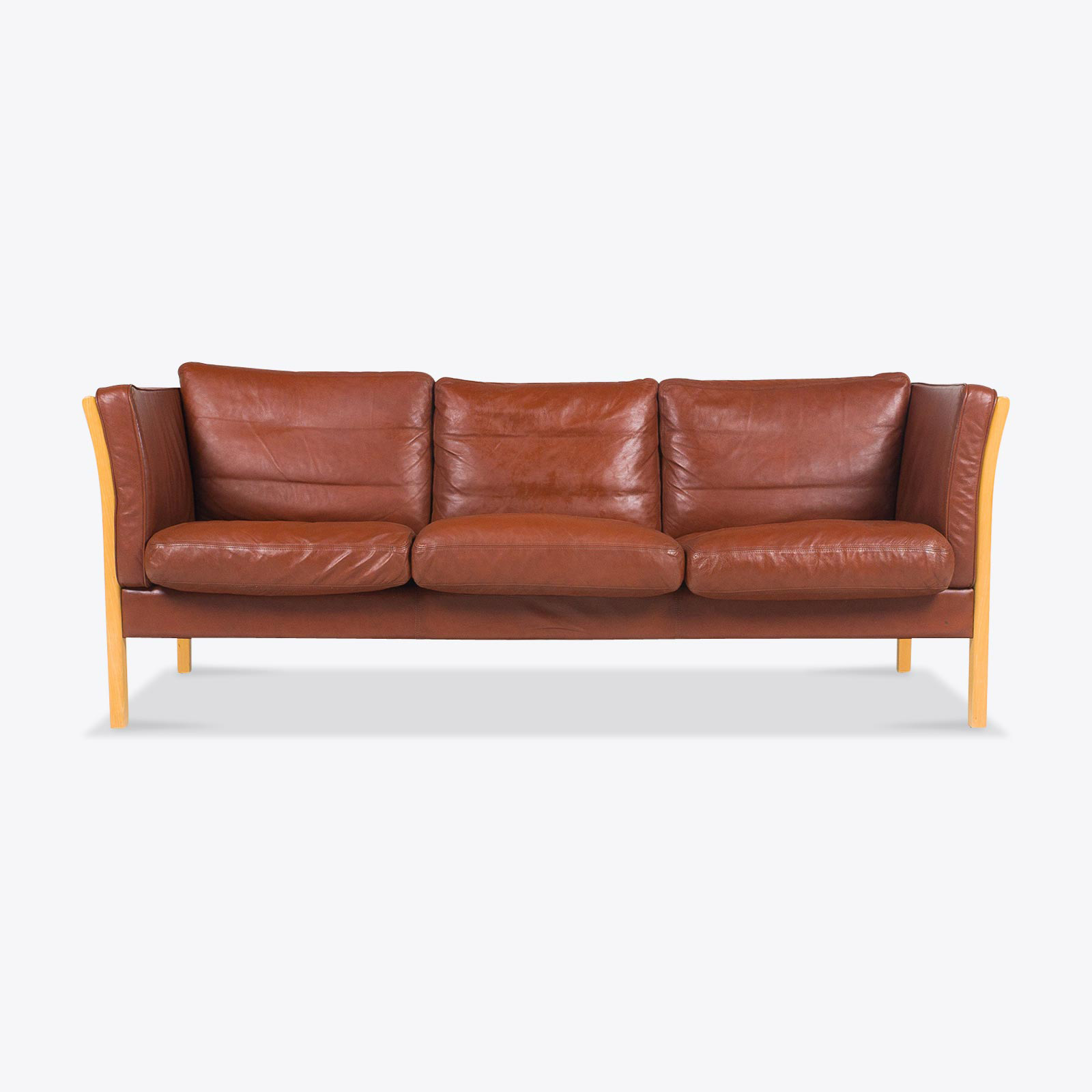 3 Seat Sofa In Rich Tan Leather With Beech Frame 1960s Denmark 01