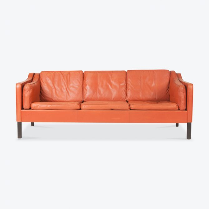 3 Seat Sofa In Tangerine Leather With Stained Beech Legs 1960s Denmark Thumb.jpg