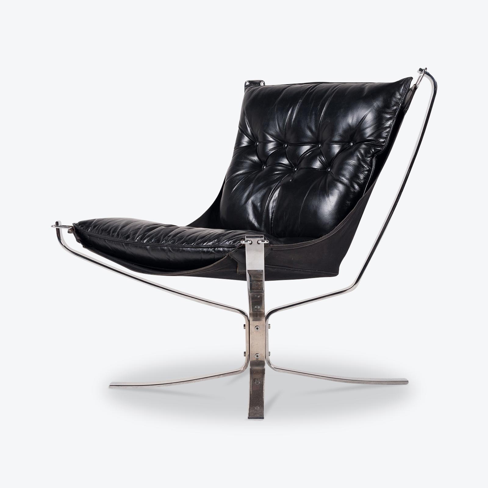 Low Back Falcon Armchair By Sigurd Resell For Vatne Mobler In Black Leather With Chrome Frame 1960s Denmark 01
