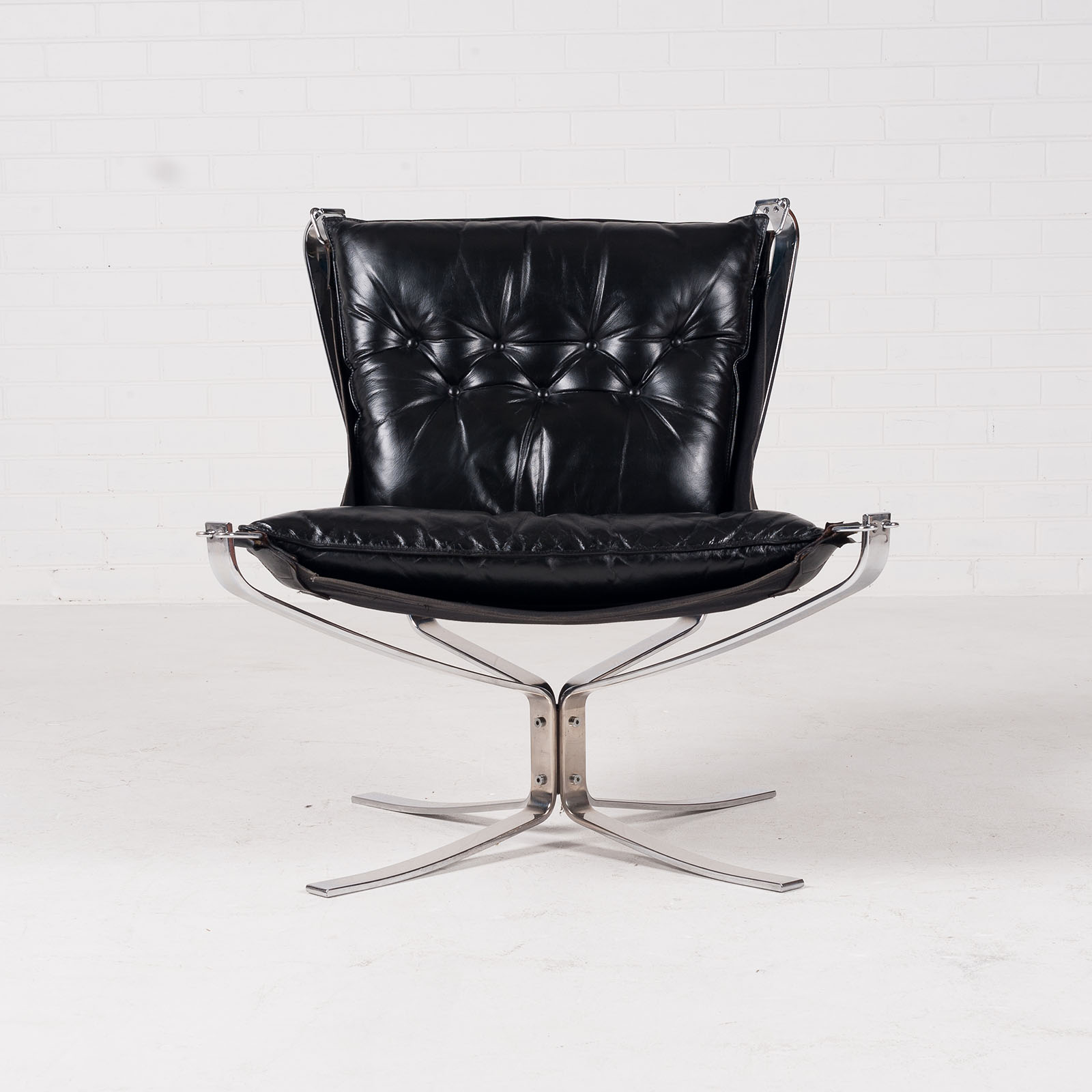 Low Back Falcon Armchair By Sigurd Resell For Vatne Mobler In Black Leather With Chrome Frame 1960s Denmark 02