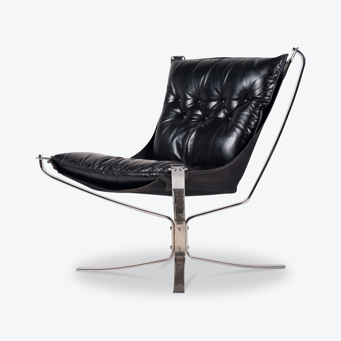 Low Back Falcon Armchair By Sigurd Resell For Vatne Mobler In Black Leather With Chrome Frame 1960s Denmark Thumb.jpg