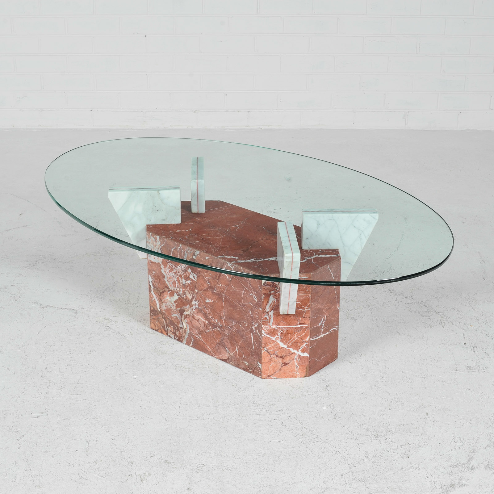 Marble Glass Top Coffee Table: Coffee Table In Marble With Glass Top, 1980s, Italy