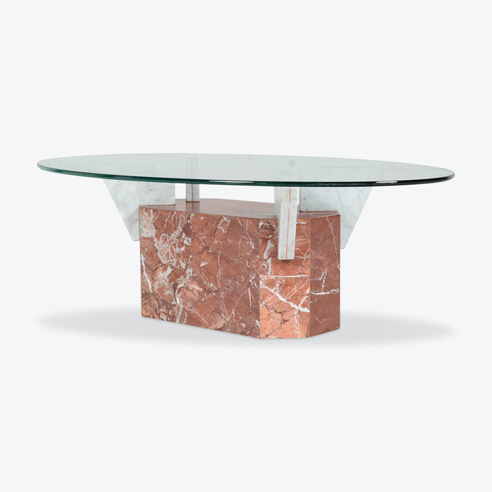 Coffee Table In Marble With Glass Top 1980s Italy Thumb.jpg