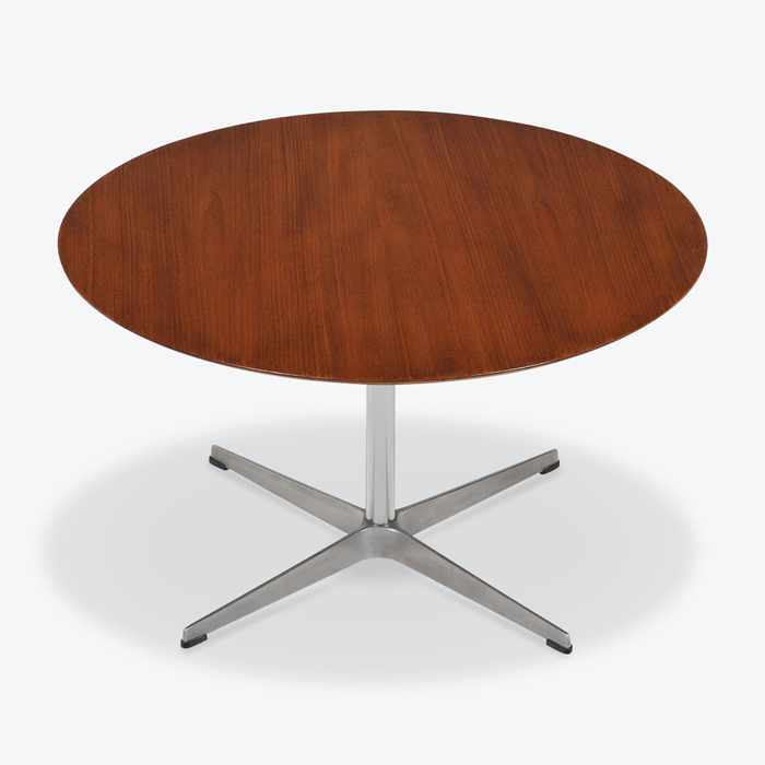Round Coffee Table In Teak By Arne Jacobsen With Steal Base 1960s Denmark Thumb.jpg