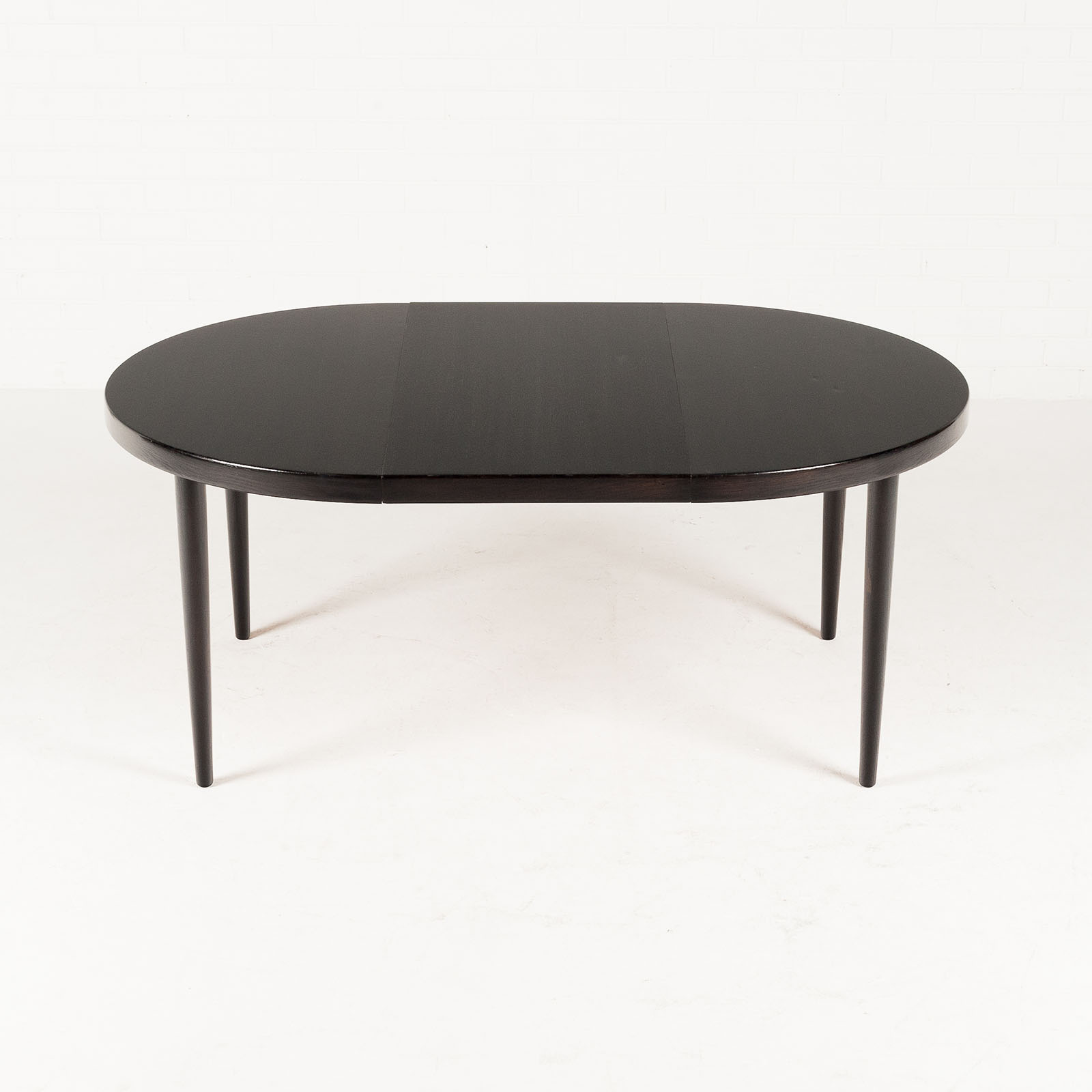 Round Dining Table By Kai Kristiansen In Stained Oak With 1 Extension 1960s Denmark 03