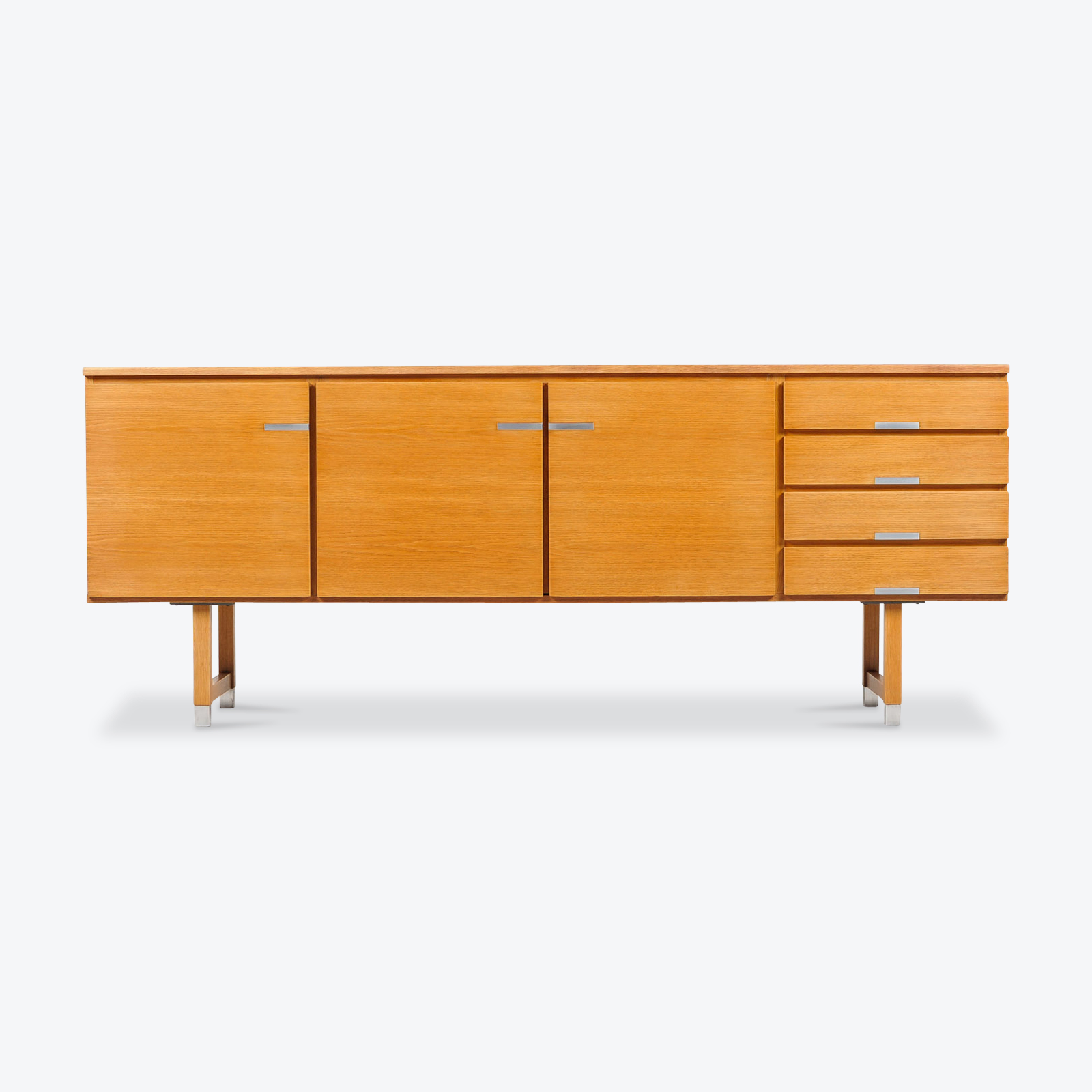 Sideboard By Kai Kristiansen For Fm Mobler In Oak With Polished Aluminium Details 1960s Denmark 01