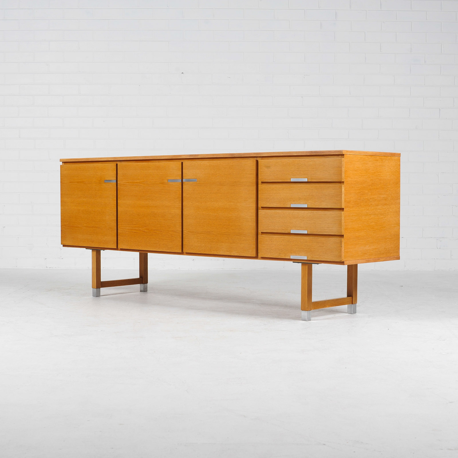 Sideboard By Kai Kristiansen For Fm Mobler In Oak With Polished Aluminium Details 1960s Denmark 02