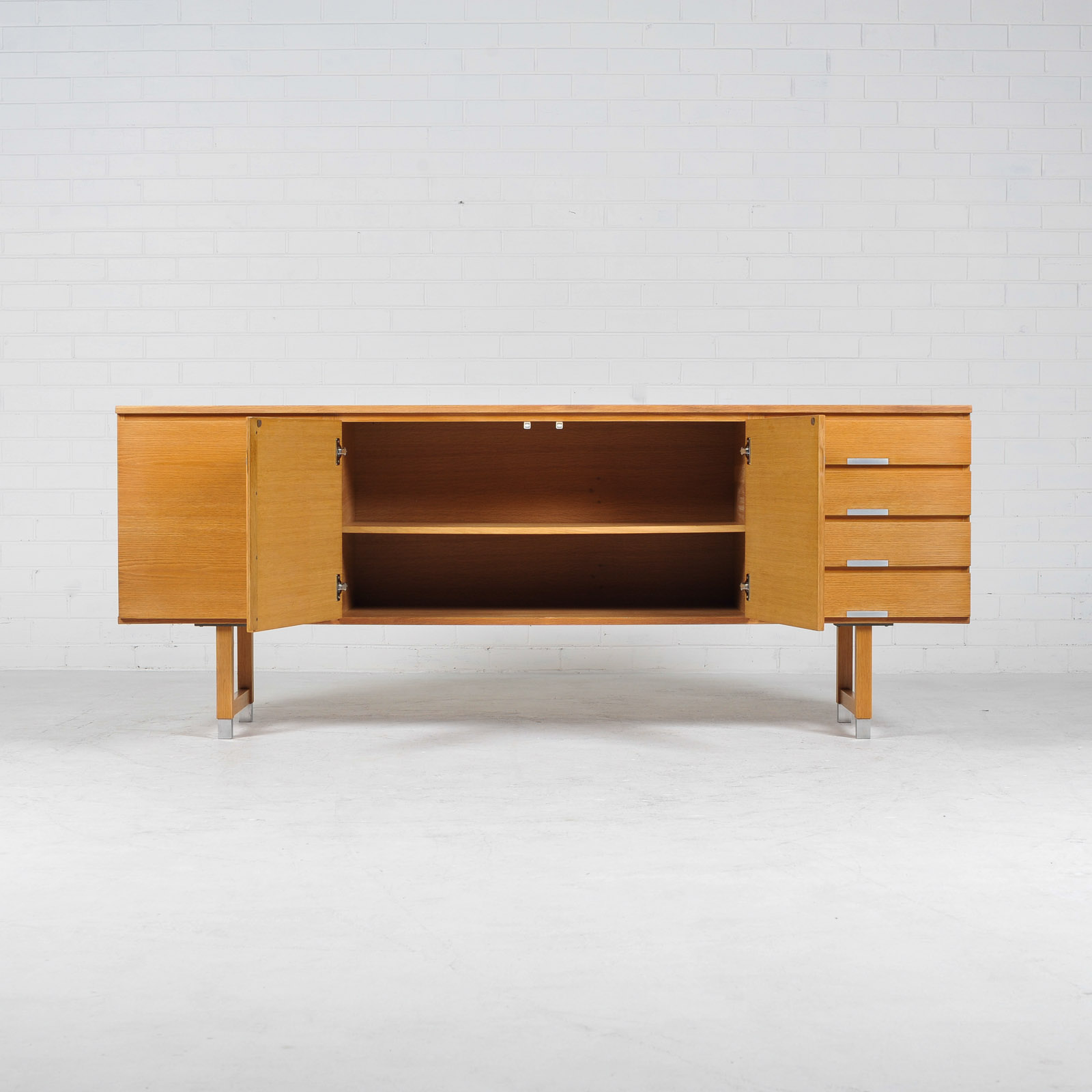 Sideboard By Kai Kristiansen For Fm Mobler In Oak With Polished Aluminium Details 1960s Denmark 03