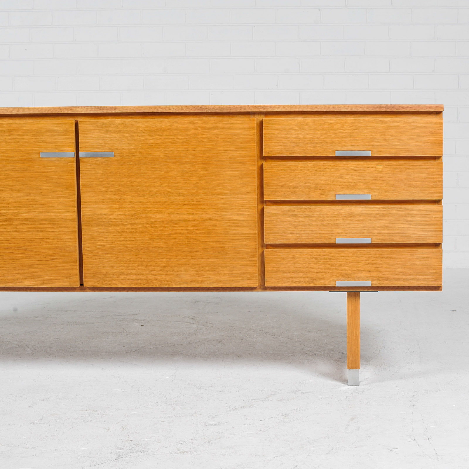 Sideboard By Kai Kristiansen For Fm Mobler In Oak With Polished Aluminium Details 1960s Denmark 04