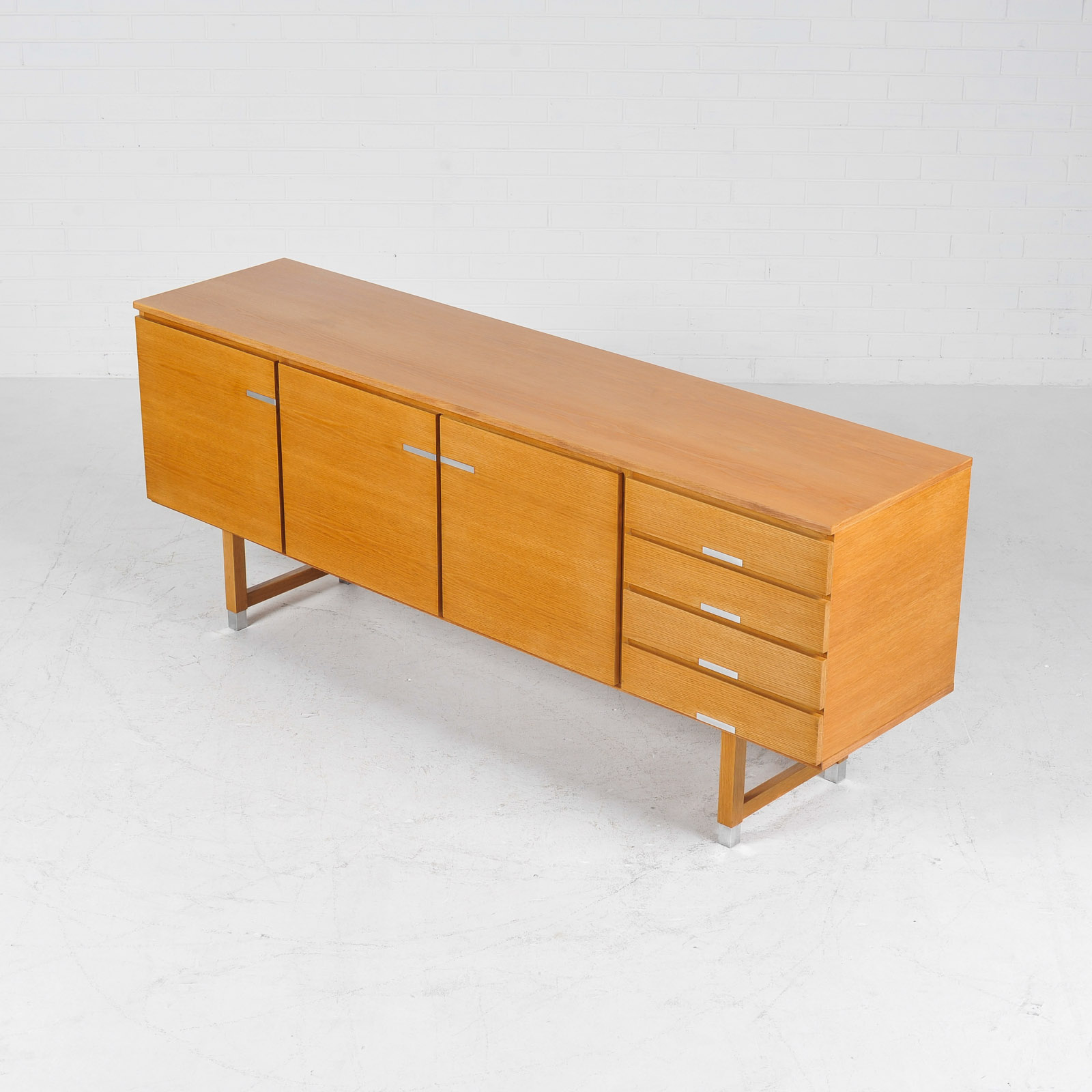 Sideboard By Kai Kristiansen For Fm Mobler In Oak With Polished Aluminium Details 1960s Denmark 05
