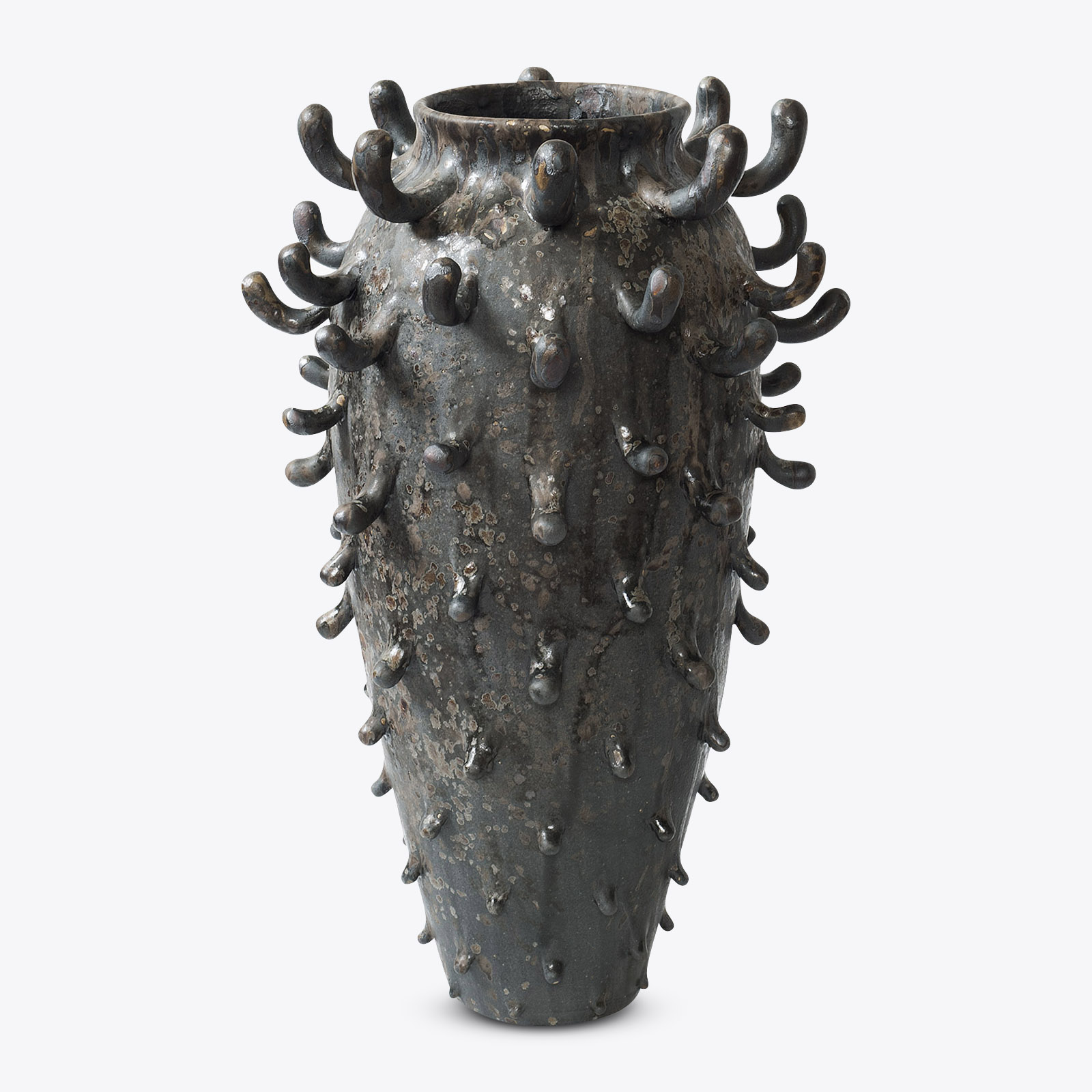 Jetsam Vessel Stoneware With Matte Black Glaze Manganese And Iron Oxide Detail And Vermiculite Crystals By Nicolette Johnson 01