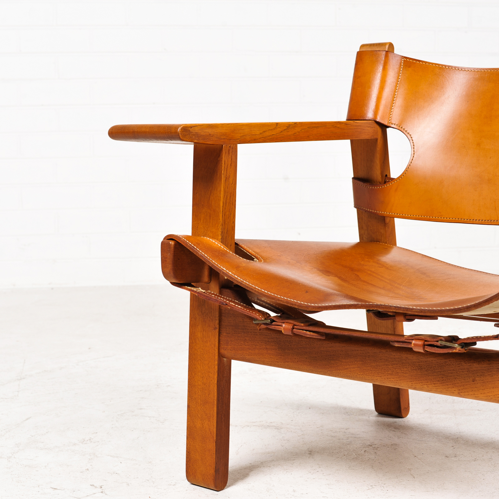 Spanish Chair by Borge Mogensen for Fredericia in Tan Leather, 1950s, Denmark 02