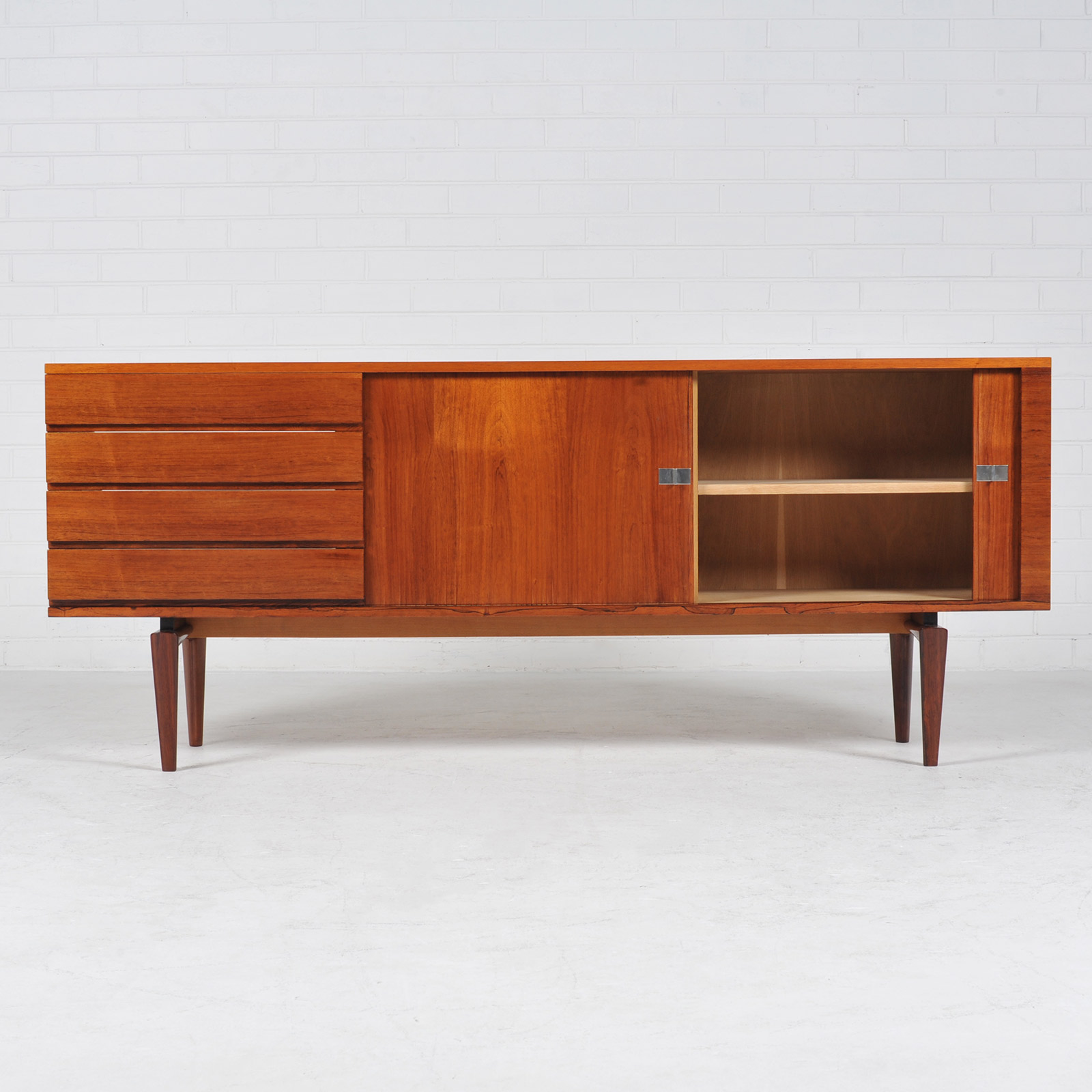 sideboard by h w klein in rosewood with tambour doors 1960s denmark modern times. Black Bedroom Furniture Sets. Home Design Ideas