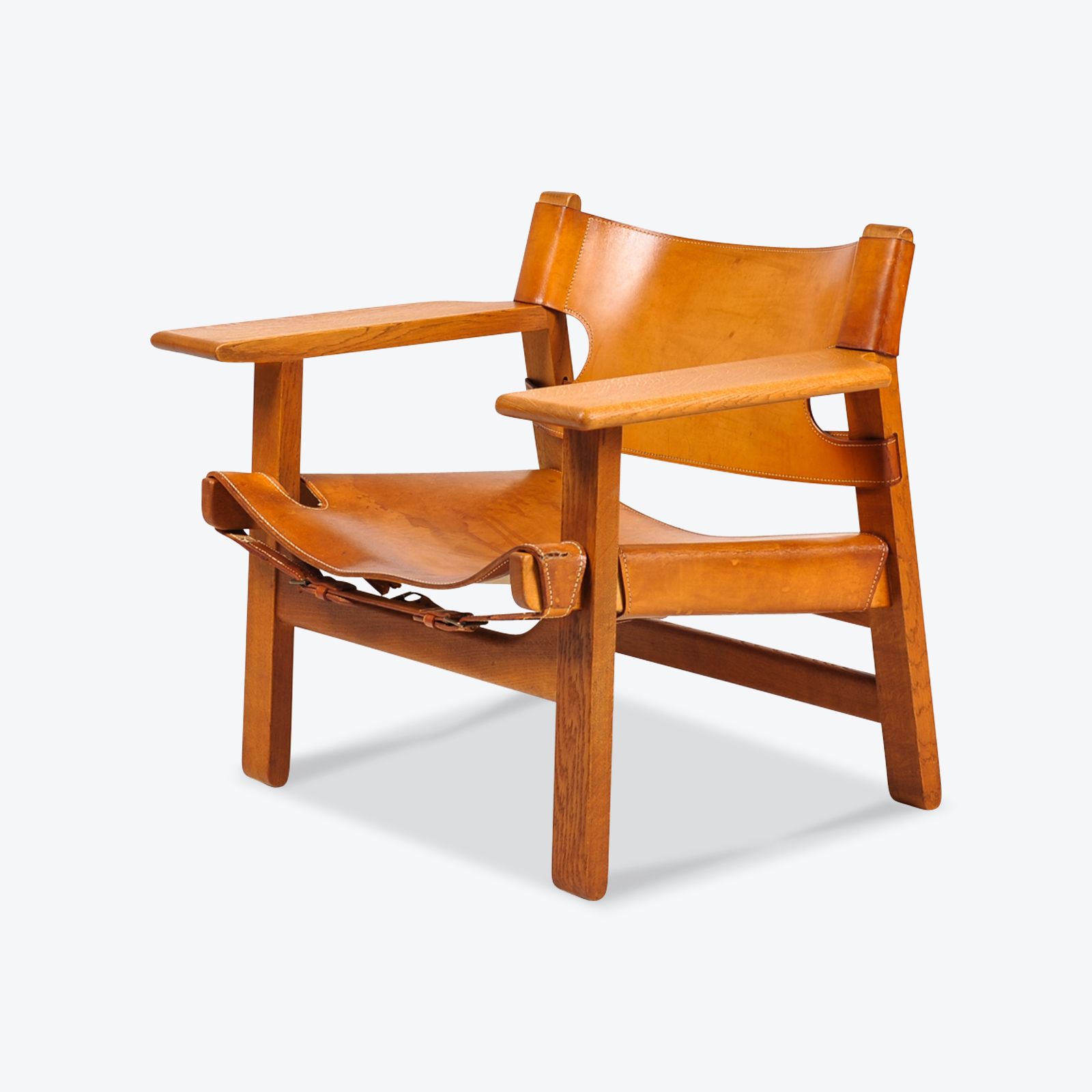 spanish chair by borge mogensen for fredericia in tan leather 1950s