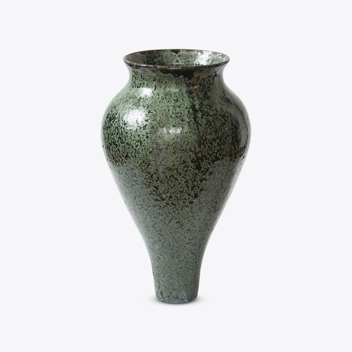Viridian Urn In Fired White Stoneware With Green Glaze And Manganese Oxide Detail By Nicolette Johnson Thumb.jpg