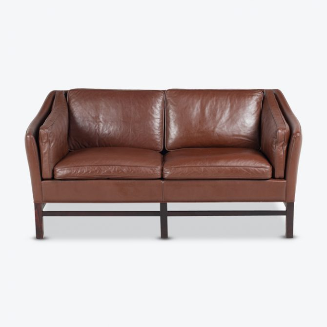 2 Seat Sofa By Grant Mobelfabrik In Chocolate Brown Leather 1960s Denmark  Thumb