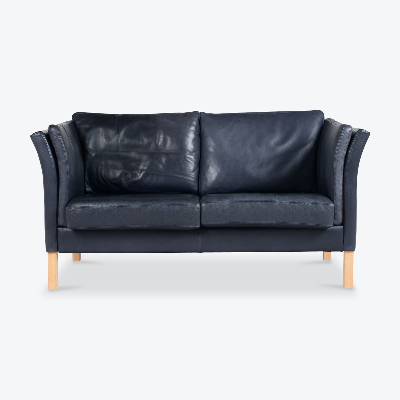 2 Seat Sofa by Skalma in Navy Leather, 1960s, Denmark - Modern Times