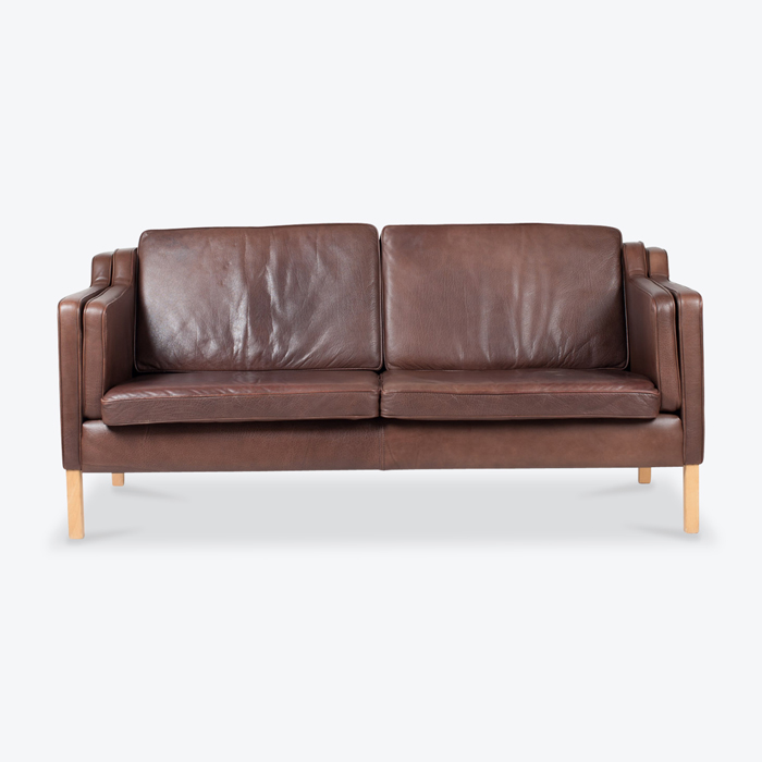 2 Seat Sofa By Stouby In Brown Leather 1960s Denmark Thumb.jpg