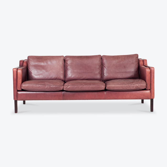 3 Seat Sofa By Stouby In Port Leather 1960s Denmark Thumb.jpg