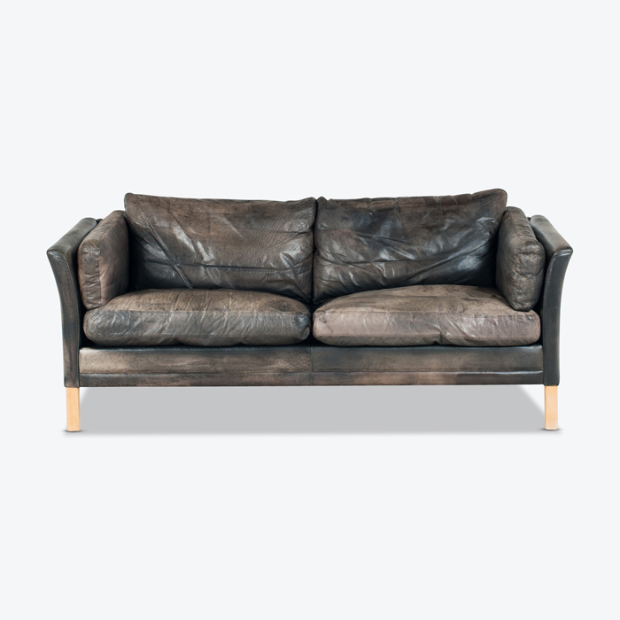 2.5 Seat Sofa By Mogens Hansen In Patinated Black Leather 1960s Denmark Thumb.jpg