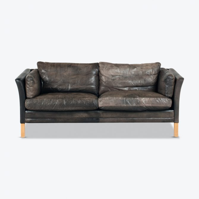 2.5 Seat Sofa By Mogens Hansen In Patinated Black Leather 1960s Denmark Thumb2.jpg