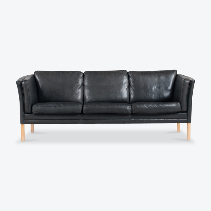 3 Seat Sofa By Mogens Hansen In Black Leather 1960s Denmark Thumb.jpg