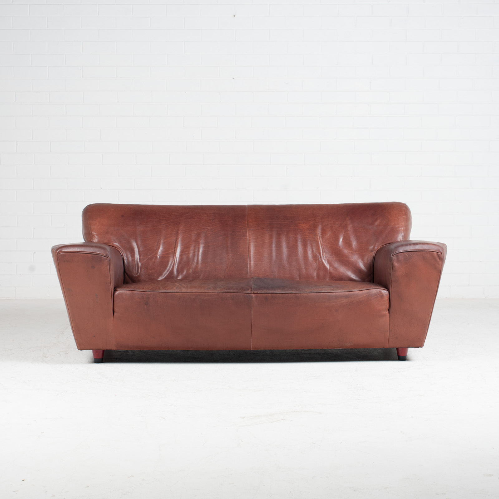 3 Seat Sofa By Montis In Red Leather 1960s Netherlands 02